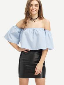 Light Blue Off The Shoulder Crop Blouse