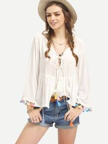 White Long Sleeve Pom Pom Trim Pleated Blouse