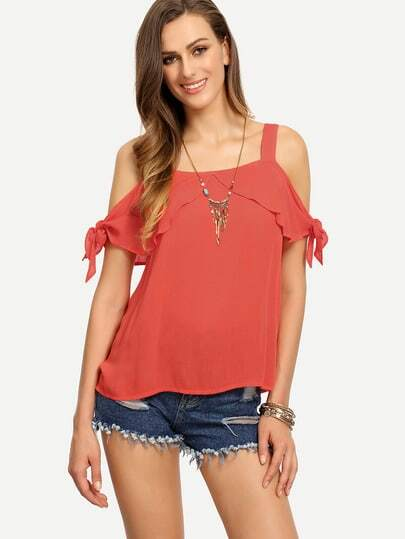 Cold Shoulder Tie Cuff Blouse