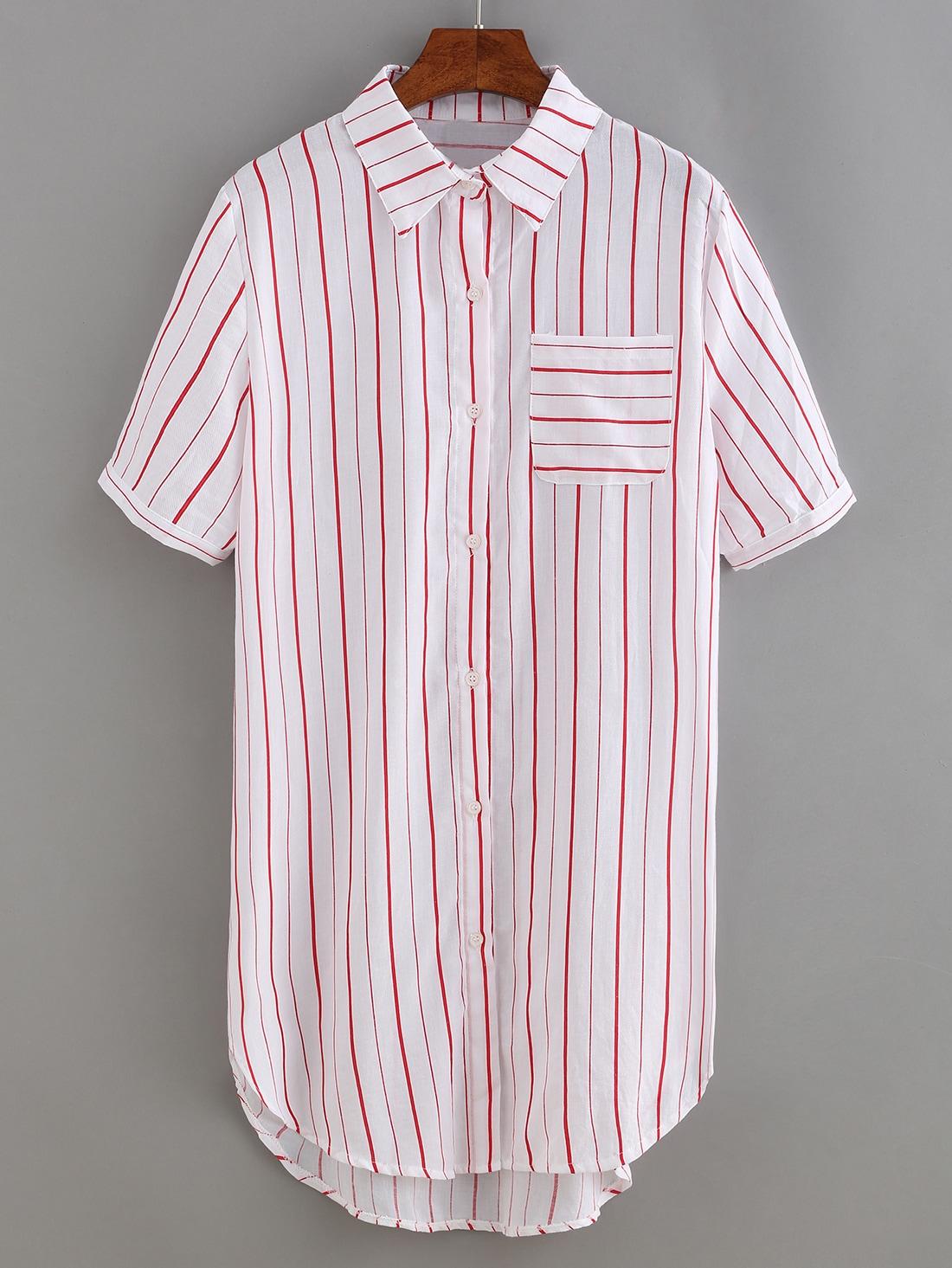 Vertical striped shirt dress shein sheinside for Vertical striped dress shirt