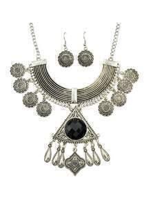 Black Rhinestone Indian Jewelry Set