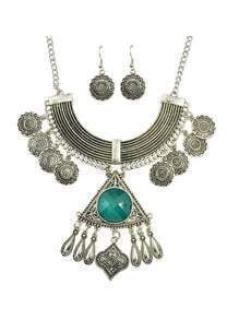 Green Rhinestone Indian Jewelry Set