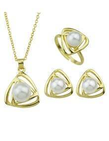 Gold Pearl Triangle Jewelry Set