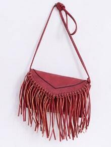 Faux Leather Fringe Flap Bag - Red