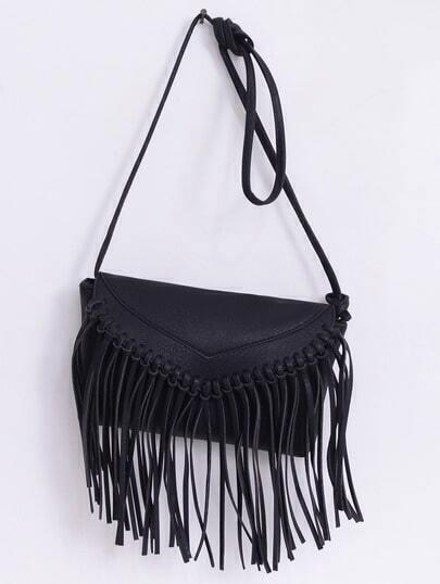 Faux Leather Fringe Flap Bag - Black