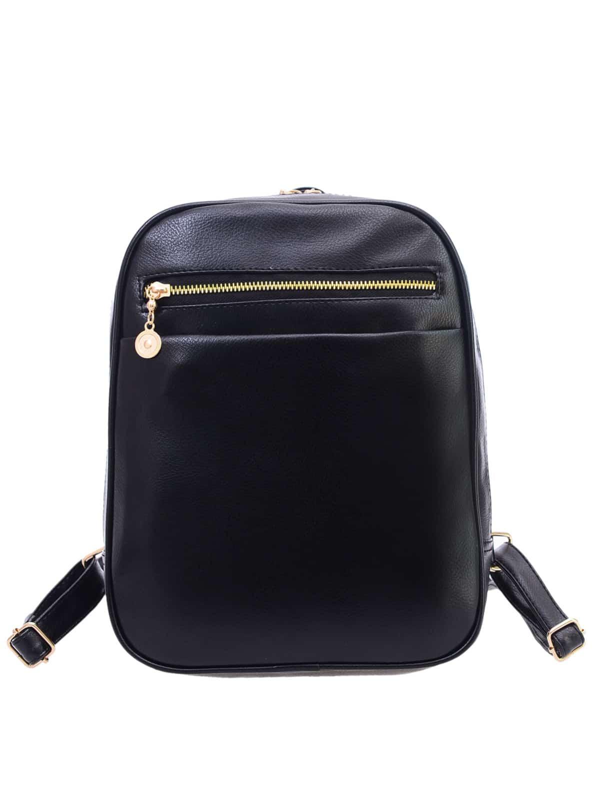 Фото Black Faux Leather Pebbled Backpack. Купить с доставкой