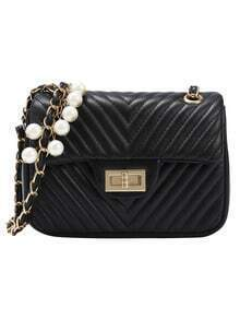 Black Chevron Quilted Pearl Chain Bag