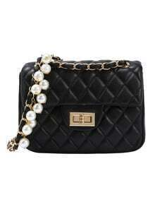 Black Quilted Pearl Chain Bag