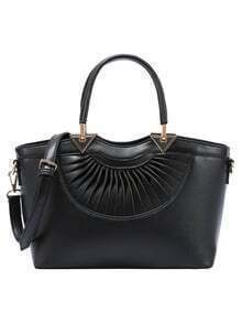 Faux Leather Pleated Handbag With Strap - Black