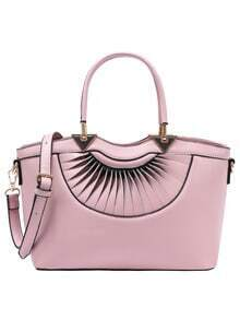 Faux Leather Pleated Handbag With Strap - Pink