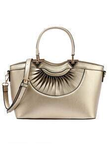 Faux Leather Pleated Handbag With Strap - Gold