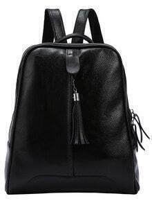 Black Embossed Leather Tassel Trimmed Backpack