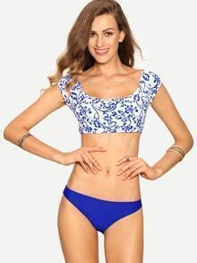 Blue Flower Print Crop Rash Guard Swimwear