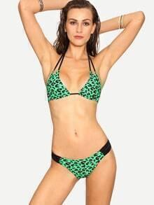 Green Leopard Print Strappy Bikini Set