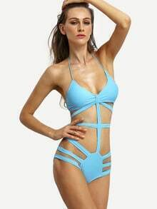 Sky Blue Caged One-Piece Swimwear