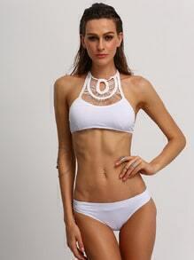 White Macrame High Neck Bikini Set