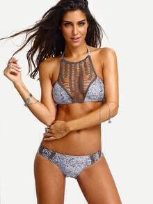 Macrame High Neck Leopard Dot Print Bikini Set