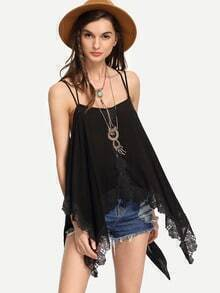 Black Lace Trimmed Strappy Asymmetric Cami Top