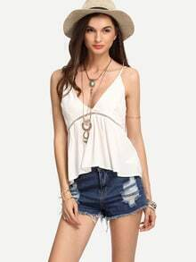 White Eyelet Panel Swing Cami Top