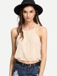 Apricot Lace Trimmed Keyhole Back Cami Top