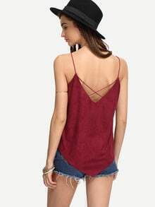 Burgandy Faux Suede Crisscross Asymmetric Cami Top