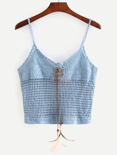 Blue Lace-Up Crop Crochet Cami Top