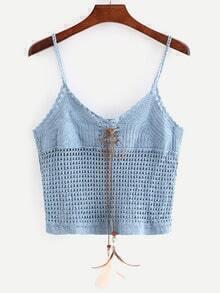Blue Lace-Up Crop Crochet Cami Top