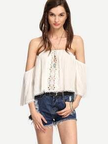 White Lace Trimmed Off-The-Shoulder Blouse