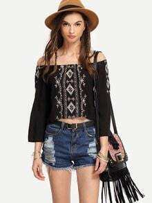 Black Off-The-Shoulder Bell Sleeve Embroidery Blouse