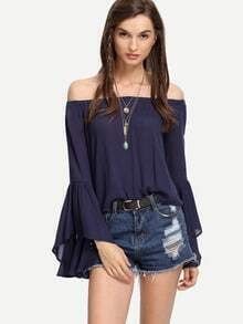 Navy Off-The-Shoulder Bell Sleeve Blouse
