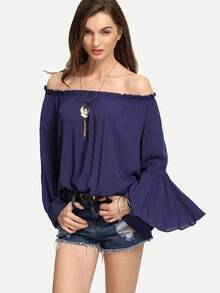 Navy Ruffled Off-The-Shoulder Bell Sleeve Blouse