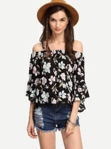 Black Lace Trimmed Cold Shoulder Flower Print Top
