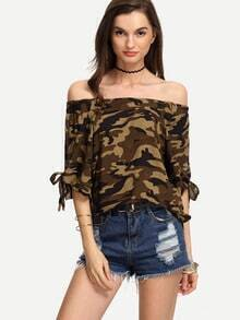 Olive Green Camouflage Off-The-Shoulder Tie Sleeve Blouse