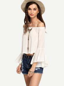 White Off-The-Shoulder Bell Sleeve Blouse