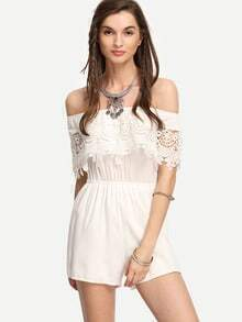 White Lace Off-The-Shoulder Romper