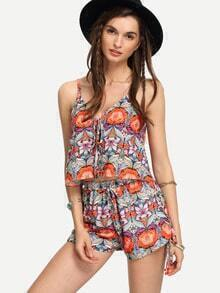 Orange Flower Print Cami Top With Shorts