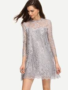 Keyhole Back Grey Lace Shift Dress