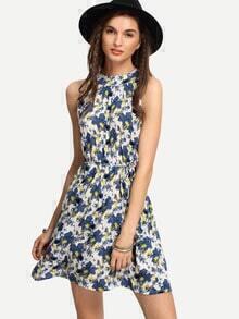 Halter Neck Blue Flower Print Dress