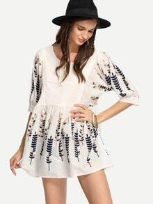 White Tie-Neck Leaf Embroidered Loose-Fit Dress
