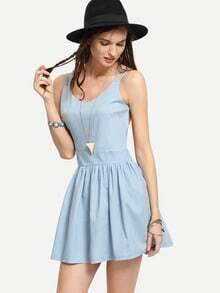Crisscross Backless Light Blue Skater Dress