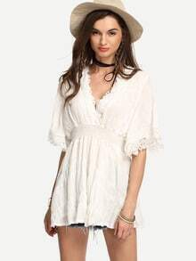 White V-Neck Lace Trimmed Shirred Waist Dress