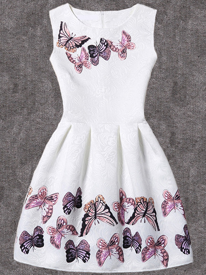 White Butterfly Print Fit & Flare Sleeveless Dress