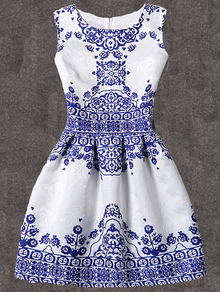 Blue Vintage Pattern Print Fit & Flare Sleeveless Dress