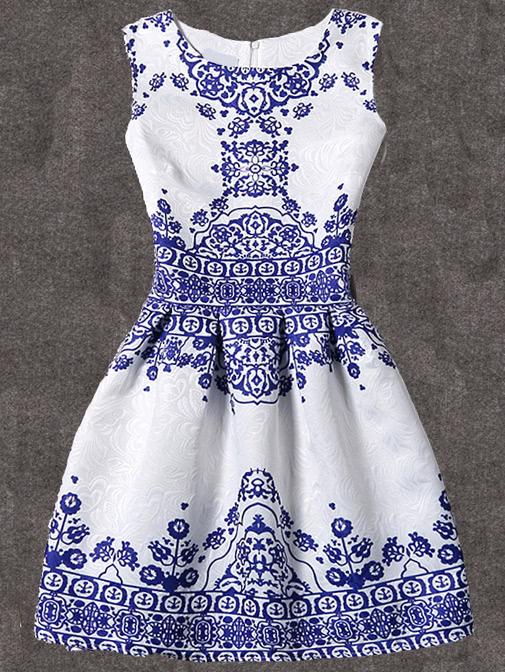 Vintage Print Fit & Flare Sleeveless Dress vintage mini flare dress