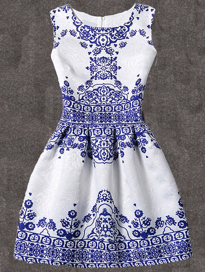 Vintage Print Fit & Flare Sleeveless Dress