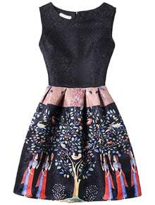Black Tree Print Fit & Flare Sleeveless Dress