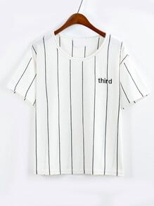 Vertical Striped Letter Embroidered White T-shirt