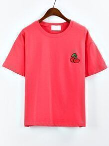 Cherry Embroidered Drop Shoulder Red T-shirt