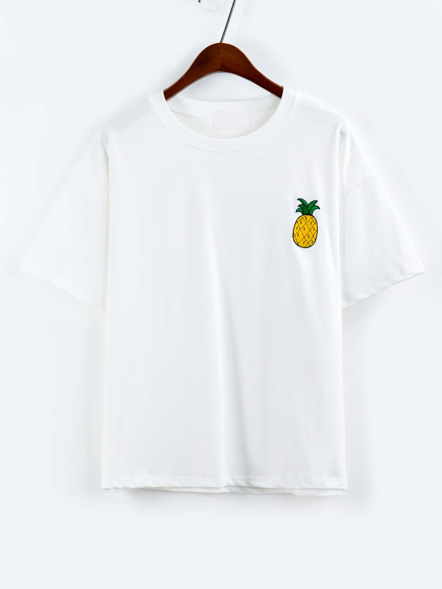 Pineapple Embroidered Drop Shoulder White T-shirt tee160517010