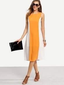 Multicolor Patchwork Sleeveless Knee Length Shift Dress